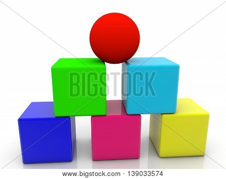 Toy cubes and ball assembled in pyramid on white . 3D illustration