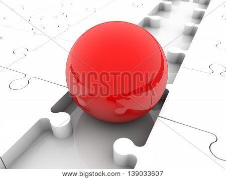 Red ball between puzzle pieces . 3D illustration