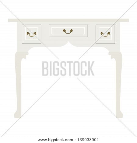 Vector illustration vintage luxury white table. Retro furniture. Console table