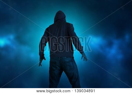 Hooded man back view sci-fi fantasy action
