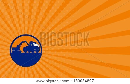 Business card showing illustration of a mechanical digger excavator earthmover loading a dump truck viewed from low angle set inside circle done in retro style