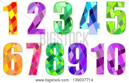 Set of decorative stained glass stylized numbers