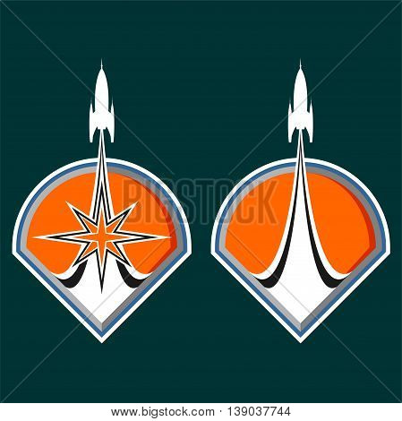 Vector emblem with a rocket takes off on an orange background