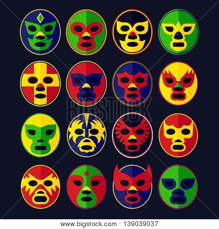 Mexican Lucha Libre Wrestling Masks. Vector Illustration.