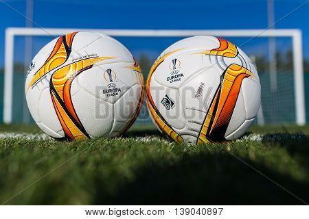 Europa League Football Balls On The Field