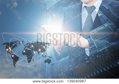 Double Exposure Of Professional Businessman Using Cloud In Smart Phone With Servers Technology In Da