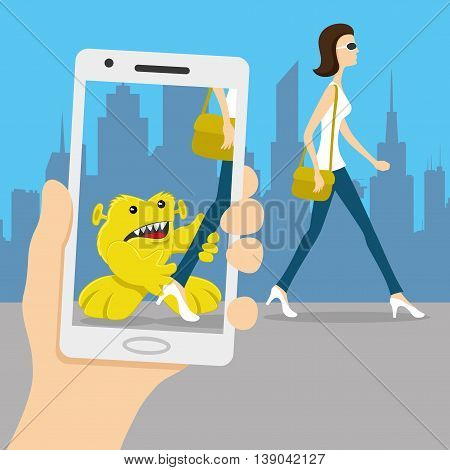 Cute invisible monster on your smart phone.