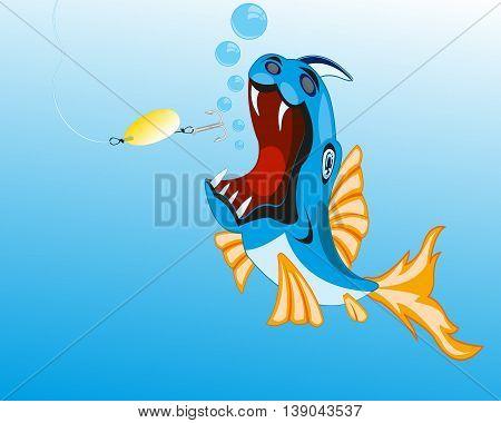 Fish crock sails for bait spoon bait.Vector illustration