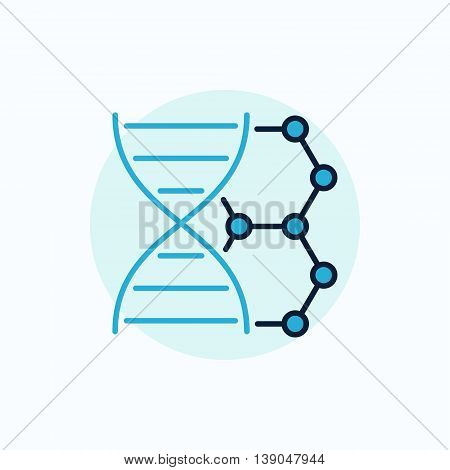 DNA vector flat icon. Colorful dna with molecule sign or blue biotechnology symbol