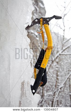 Climbing Ice Ax In The White Ice