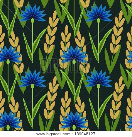 Seamless floral pattern with cornflowers and wheat