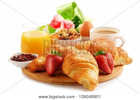 Breakfast On The Cutting Board Isolated On White
