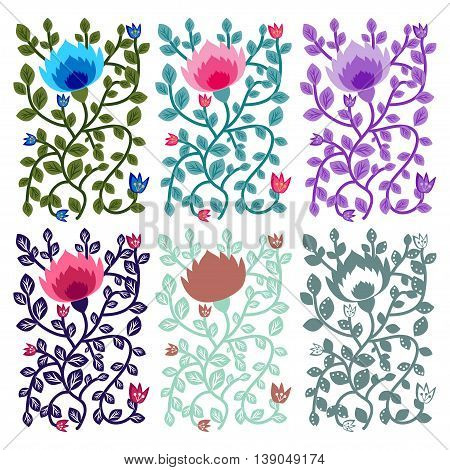 Floral decorative ornamental vector design variants collection