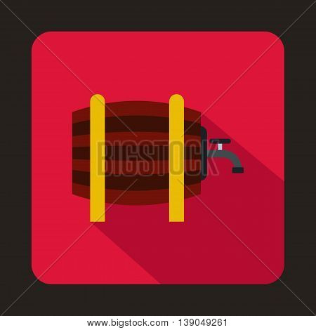 Wooden barrel with tap icon in flat style on a pink background