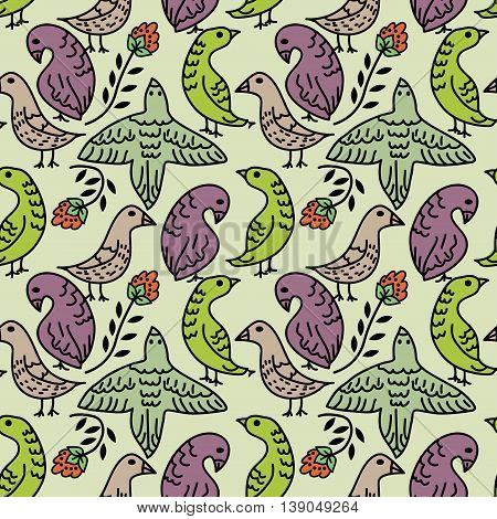 Seamless pattern with decorative cartoon birds and flowers