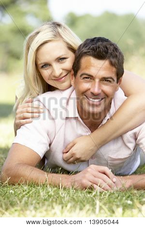 Young couple having fun in countryside