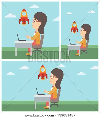 Business woman sitting at the table and looking at a flying rocket. Business woman working on laptop. Business start up concept. Vector flat design illustration. Square, horizontal, vertical layouts.