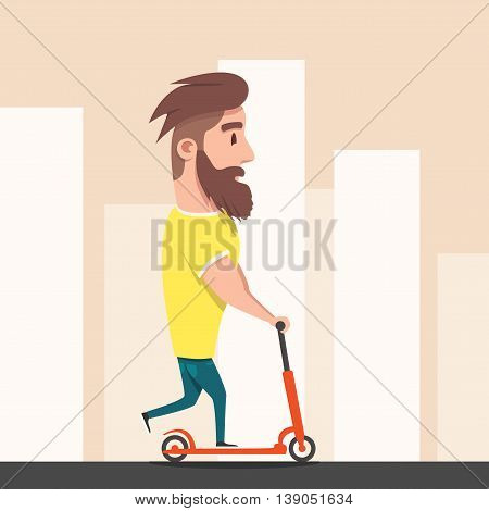 Hipster racing a scooter. A young modern man loves adventure. Fanny person on illustration. Cartoon style.