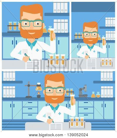 A hipster laboratory assistant with the beard taking some notes and working with a test tube at the lab. Vector flat design Illustration. Square, horizontal, vertical layouts.