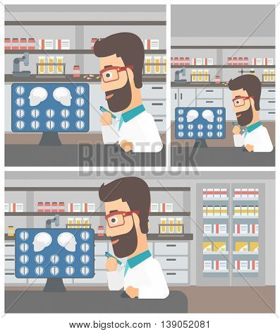 Young hipster doctor with the beard looking at magnetic resonance images of the brain on a computer screen at the medical office. Vector flat design Illustration. Square, horizontal, vertical layouts.