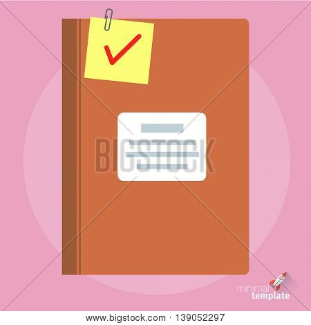 Flat design vector guest book icon  for application interface, presentation and web design. Concept for registration, accounting, bookkeeping, library, paperwork and archive.
