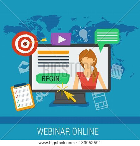 Vector concept online webinar, e-learning, professional lectures in internet, online education. Woman on computer monitor with different web elements around in flat style on blue background