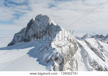 beautiful sight of snowy Dachstein Mountain - austria