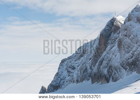 Mount the Dachstein region above a blanket of fog - austria