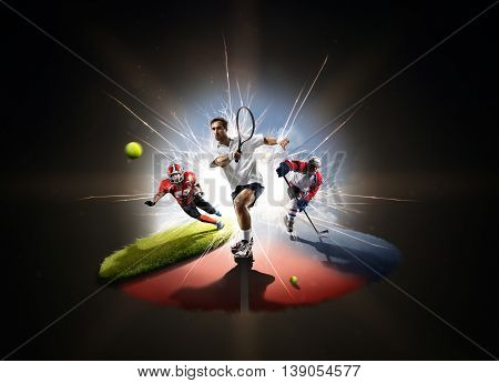 Multi sports collage tennis hockey american footbal