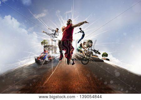 Multi sports collage from karting basketball bmx batut karate