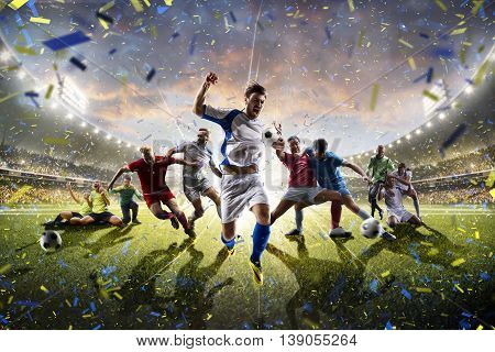 Collage from adult and childrens soccer players in action on the stadium background panorama