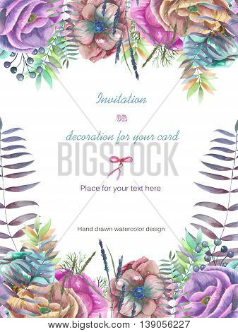 Background, template postcard with the watercolor anemone flowers, fern and branches hand drawn on a white background, background for your card and work