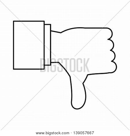 Thumb down gesture icon in outline style isolated vector illustration