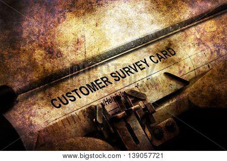 Customer Survey Form On Vintage Typewriter