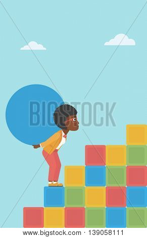 An african-american woman rising up on the colored cubes and carrying a big stone on her back. Woman with huge concrete ball going up. Vector flat design illustration. Vertical layout.