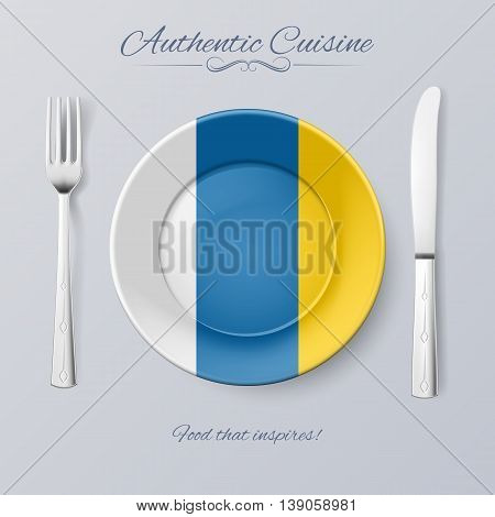 Authentic Cuisine of Canary Islands. Plate with Flag and Cutlery