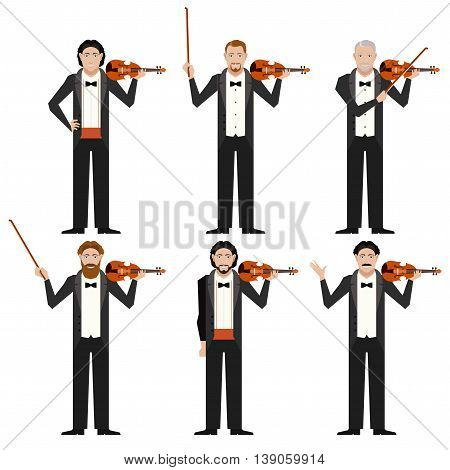 Vector image of the Set of violinistes flat icons