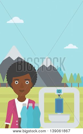 An african-american woman standing near three D printer on the background of mountains. 3D printer making a smartphone using recycled plastic bottles. Vector flat design illustration. Vertical layout.