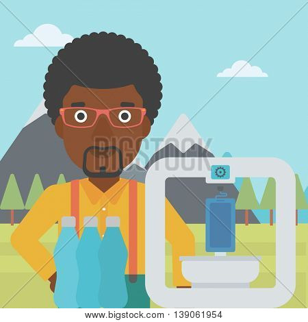 An african-american man standing near 3D printer on the background of mountains. Three D printer making a smartphone using recycled plastic bottles. Vector flat design illustration. Square layout.