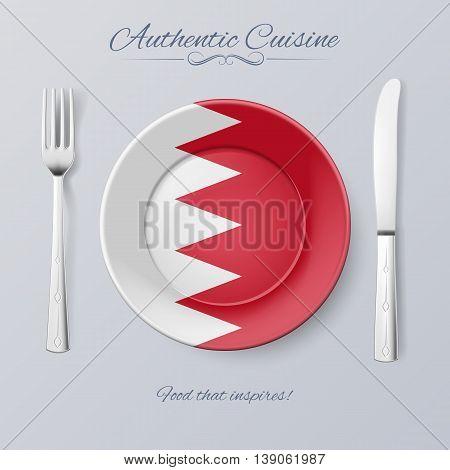 Authentic Cuisine of Bahrain. Plate with Bahraini Flag and Cutlery