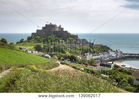 The town of Gorey with Mont Orgueil Castle, UK
