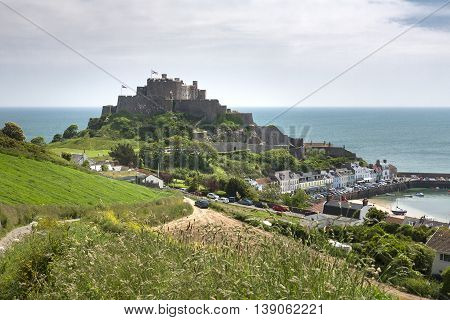 The town of Gorey with Mont Orgueil Castle, Jersey, UK