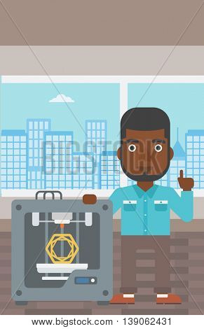 An african-american man standing near three D printer and pointing forefinger up. Engineer using 3D printer. Man working with 3D printer. Vector flat design illustration. Vertical layout.