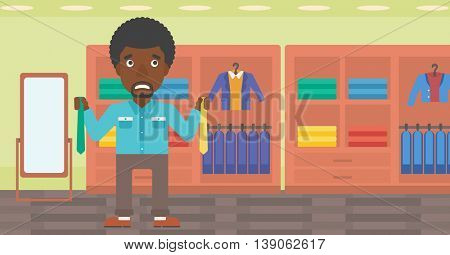 An african-american man holding two neckties and trying to choose the best one. Customer choosing necktie at clothing store. Vector flat design illustration. Horizontal layout.
