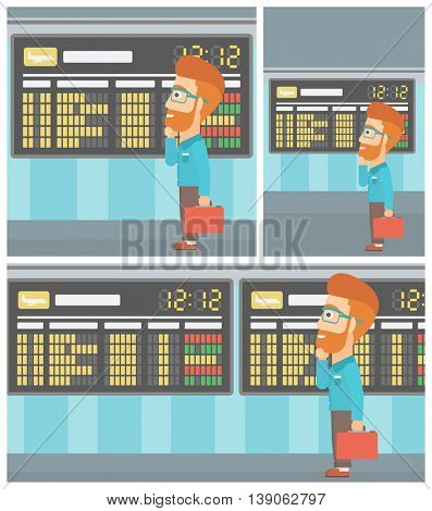 Man with a briefcase looking at departure board at the airport. Passenger standing at the airport in front of departure board. Vector flat design illustration. Square, horizontal, vertical layouts.
