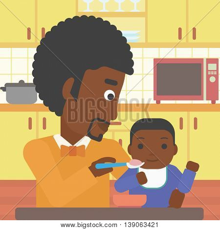 An african-american father feeding baby at home. Young father teaching baby to eat with spoon. Father spoon-feeding her baby at kitchen. Vector flat design illustration. Square layout.