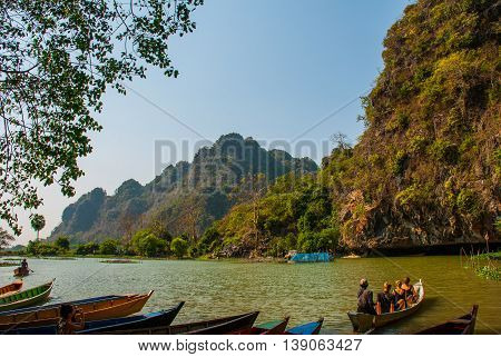 A View Of The Landscape With The Boats. Hpa-an, Myanmar. Burma.