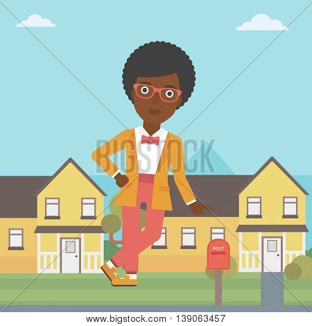 An african-american female real estate agent standing near the house. Real estate agent leaning on the house. Real estate agent offering house. Vector flat design illustration. Square layout.