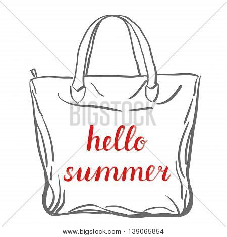 Hello summer lettering. Brush hand lettering on a sample tote bag. Great for beach tote bags, swimwear, holiday clothes, posters, and more.