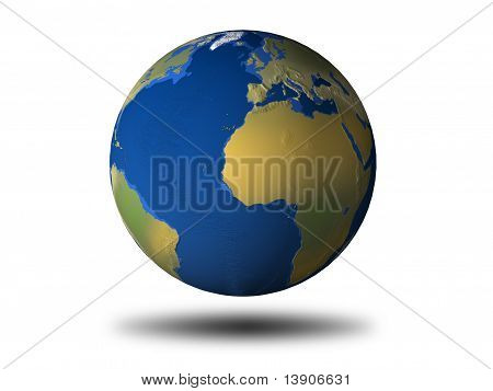 3D Earth With Relief - Africa/Europe